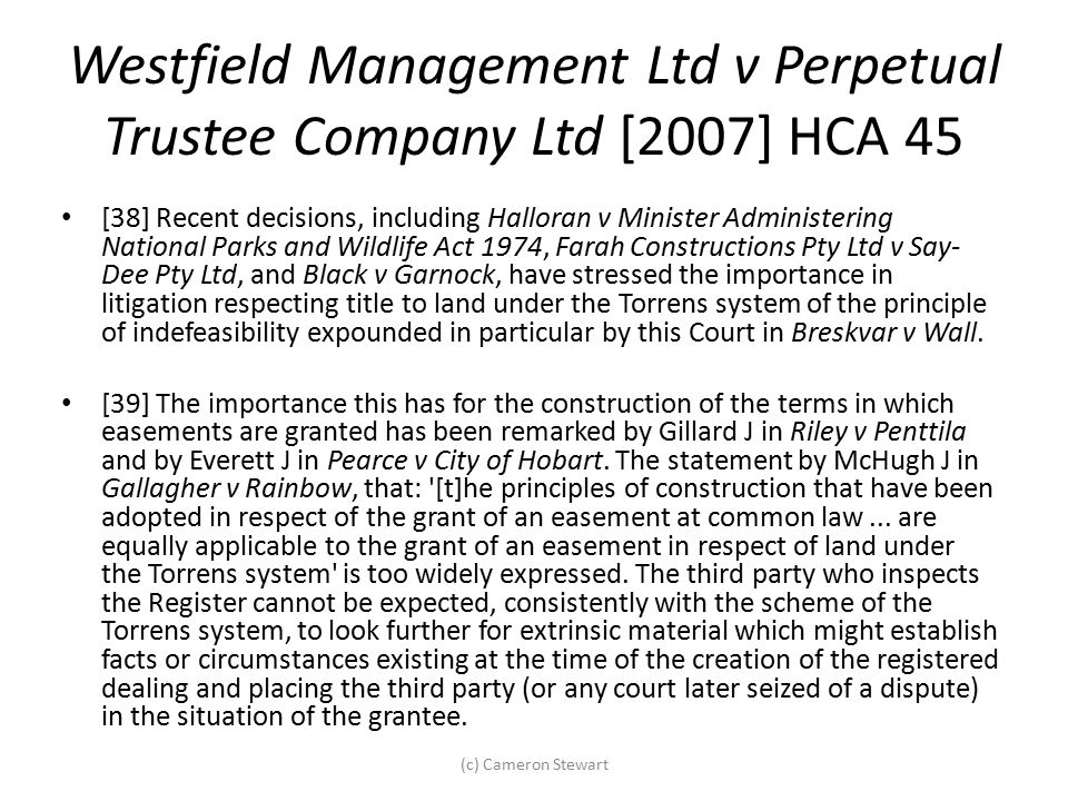 Westfield Management Ltd v Perpetual Trustee Company Ltd [2007] HCA 45